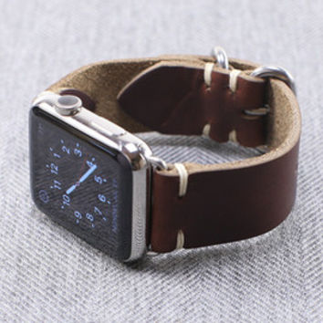 Apple Watch Band Kit Horween Natural Chromexcel PVD Black ZULU