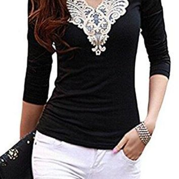 Elegant Floral Lace Patchwork Long Sleeve Basic T-Shirt Blouse Top