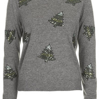 Sequin Christmas Tree Sweater - Charcoal