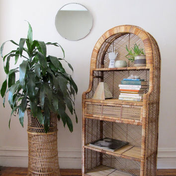 Vintage Rattan Stand / Wicker Standing Shelf