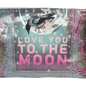 Love You to the Moon Purple Tassel Graphic Art Design Oil Cloth Large Make-up or Accessory Travel Bag