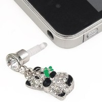 World Pride Cute Gold Crystal Panda 3.5mm Earphone Jack Ear Plug for iPhone iPad HTC