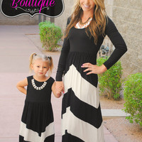 FALL FOR ME CHEVRON LONG SLEEVE MAXI DRESS