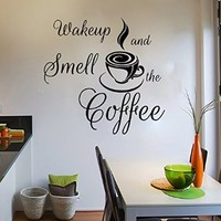 Wall Decals Quote Wakeup and Smell the Coffee Decal Vinyl Sticker Cup Home Decor Interior Design Kitchen Cafe Restaurant Mural MN429
