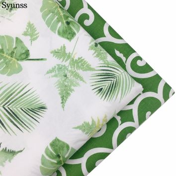 Green Big Leaves Syunss Cotton Fabric Tilda Tissus Patchwork Meter Baby Cloth Bedding Textile DIY Handmade Sewing Tedios Quilt