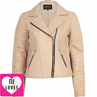 LIGHT PINK LEATHER BIKER JACKET