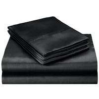 95gsm  Luxury Satin Silk Soft QUEEN Bed Fitted Sheet Set - RED BLACK