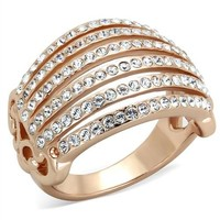 6 Row Rose Gold Crystal Dome Stainless Steel Ring
