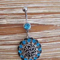 Belly Button Ring - Body Jewelry -Silver Medallion With Black and Blue Crystals and Lt Blue Gem Stone Belly Button Ring
