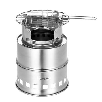 TOMSHOO Portable Outdoor Folding Gas Stove Camping Equipment  Stainless Steel Folding Windproof Wood Burning Stove for Camping