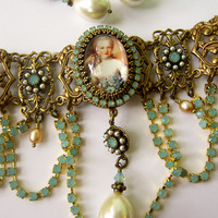 Marie Antoinette Choker -  Baroque Choker Necklace -  Sea Opal and Pearl Necklace - Opal Necklace - Cameo Choker Necklace - Rococo Choker