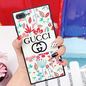 GUCCI Trending Stylish Cute Leaves Flower Blu-Ray Glass iPhone Phone Cover Case For iPhone X phone Shell 6s iPhone 8plus I12070-1