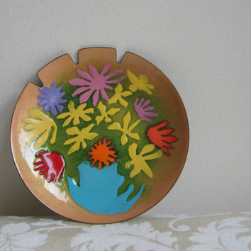 Vintage Bovano Enamel Round Tray Ashtray Dish Copper Turquoise Purple Yellow Green Orange Red Abstract Flowers, Mid Century MOD