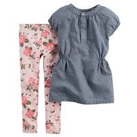 Carter's Chambray Top & Floral Leggings Set - Baby Girl, Size: