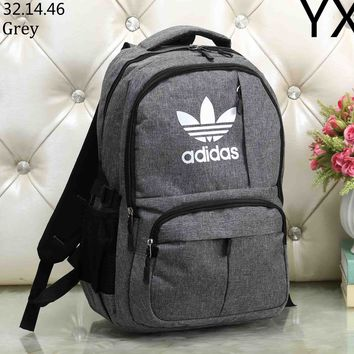 ADIDAS Clover 2018 new classic big logo student bag men and women wild fashion backpack grey