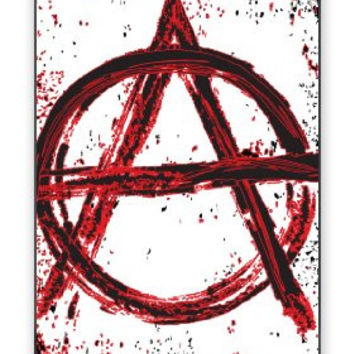 Distressed Look & Splatter Anarchy Symbol Grunge iPhone 4 Quality Hard Snap On Case for iPhone 4 4S 4G - AT&T Sprint Verizon - White Case Cover