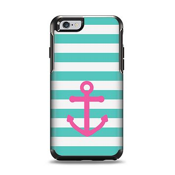 The Teal Striped Pink Anchor Apple iPhone 6 Otterbox Symmetry Case Skin Set