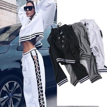 High Street Lace Up Crop Hoodies Short Pullover Tracksuit