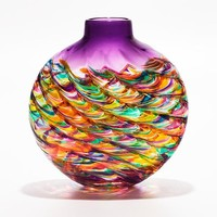 Flat Optic Rib Vase in Candy with Grape by Michael Trimpol: Art Glass Vase | Artful Home