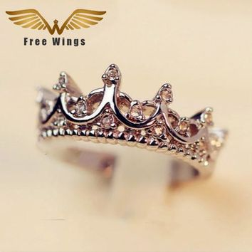 Queen's Silver Crown Rings For Women Punk Brand  Crystal Jewellery Love Rings Femme Bijoux wedding engagement rings