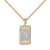 Money Team Dog Tag Pendant 14k Gold Finish Simulated Diamonds Chain Hip Hop