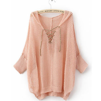 Hooded Hollow Asymmetrical Sweater$41.00