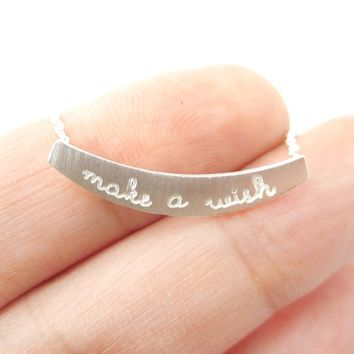 Make a Wish Engraved Minimal Bar Lucky Charm Necklace in Silver | DOTOLY