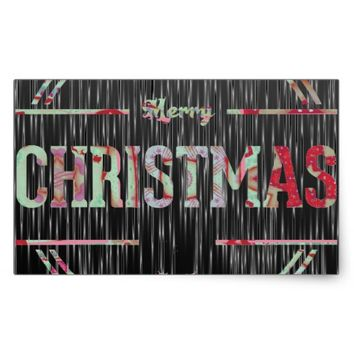 Merry Christmas Greeting Rectangular Sticker