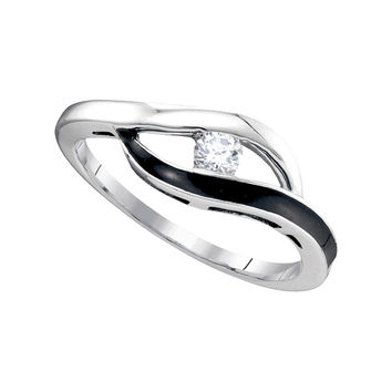 10kt White Gold Womens Round Diamond Solitaire Black-tone Promise Bridal Ring 1/8 Cttw 83503