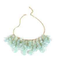 Gold/Mint Faceted Tear Statement Necklace