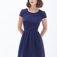LOVE 21 Lacy Cutout Tea Dress Navy/Black