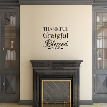 Thanksgiving Wall Decal Thankful Grateful Blessed Christian Decor 22470
