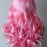 Halloween Special :))  Candy pink wig   Long curly hair synthetic wig Lolita wig.