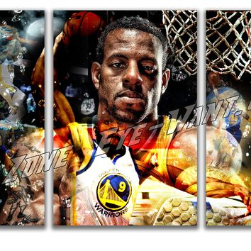 andre iguodala 3 panel canvas wall art basketball decor for mancave