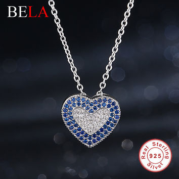 Luxury Sapphire Jewelry 925 Sterling Silver Rhinestone Love Heart Pednant Necklace Fashion Link Chain Long Necklace for Women