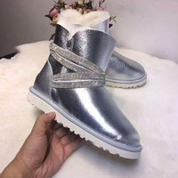 """UGG"" Winter Newest Fashionable Women Warm Wool Diamond Snow Boots Silvery"