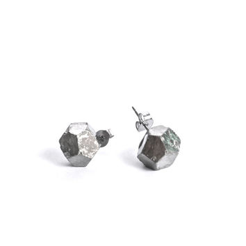 Raw PYRITE fools gold crystal natural rough post earrings studs