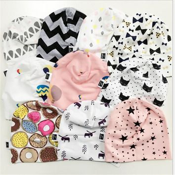 new solid color cotton baby beanies ice cream sweaty batman fown star wave cross cartoon kids head wear caps boys girls hats