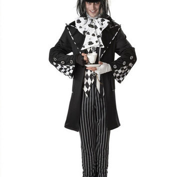 Dark Mad Hatter Men's black Fancy Dress Fairy tale Alice In Wonderland cosplay adult Halloween Costumes for men party C216547577
