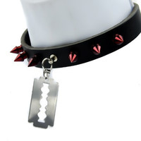 Razor Blade Red Spike Leather Choker Necklace
