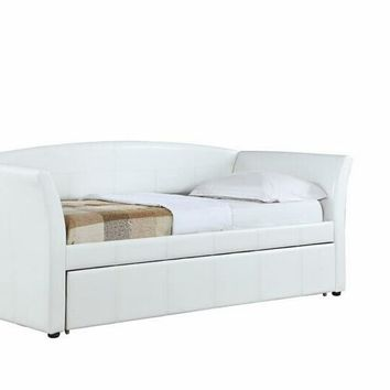 2 pc Palacial II collection white leatherette day bed with trundle
