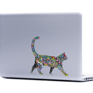 Ornate Cat Vinyl Laptop or Automotive Art FREE SHIPPING decal laptop notebook art sticker ornate detailed colorful feline kitty psychedelic