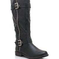 buckle-zipper-riding-boot BLACK CHESTNUT TAUPE - GoJane.com