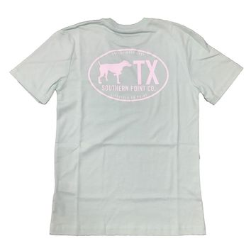 Southern Point, Youth Texas State Line T-Shirt, Seafoam