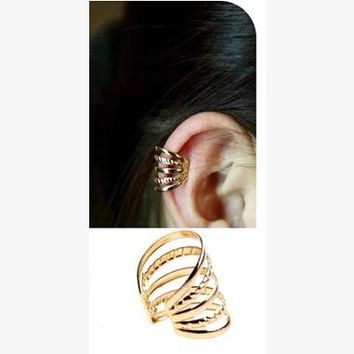 Gold/Silver Punk Multi Layer Alloy Clip Ear Cuff Earrings