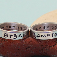 Personalized - Names & Dates Rings- Couple rings. Adjustable. Custom rings.Set of two Rings.. Hand Stamped, Aluminum Rings..