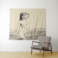 Beauty in the water, sexy girl in a lake, adult tapestry
