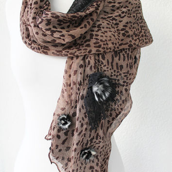 Black and Brown Animal Paterned Shawl, Scarf