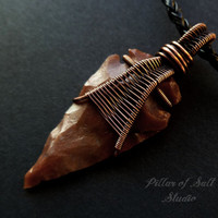 Mens necklace, Arrowhead necklace, Wire Wrapped jewelry handmade, rustic, copper jewelry, woven wire jewelry, mens jewelry, unisex necklace