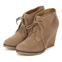 Nature Breeze AF49 Women Suede Lace Up Round Toe Wedge Bootie - Taupe